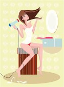 Beautiful girl blow drying hair