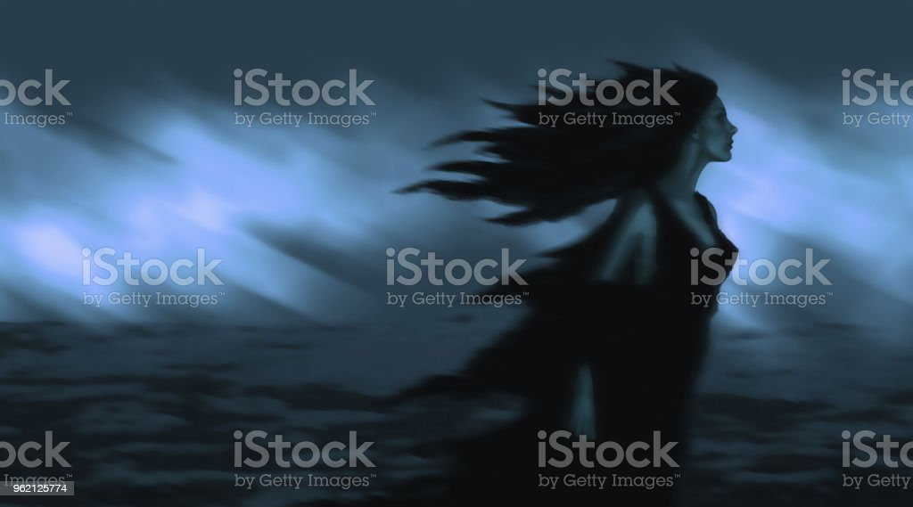 Beautiful girl with black hair developing in the wind vector art illustration