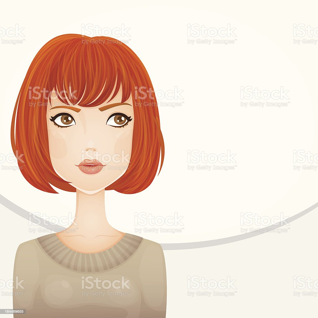 Beautiful girl with red hair vector art illustration