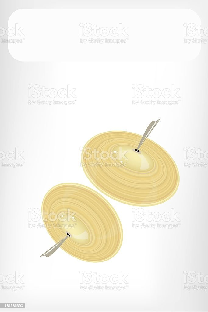 Beautiful Golden Cymbal with White Banner vector art illustration