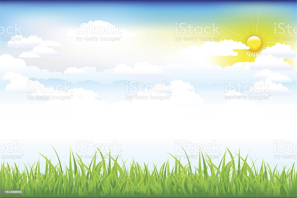 Beautiful Green Landscape With Clouds royalty-free stock vector art