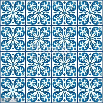 Beautiful hand painted Azulejos tile pattern decorations watercolor