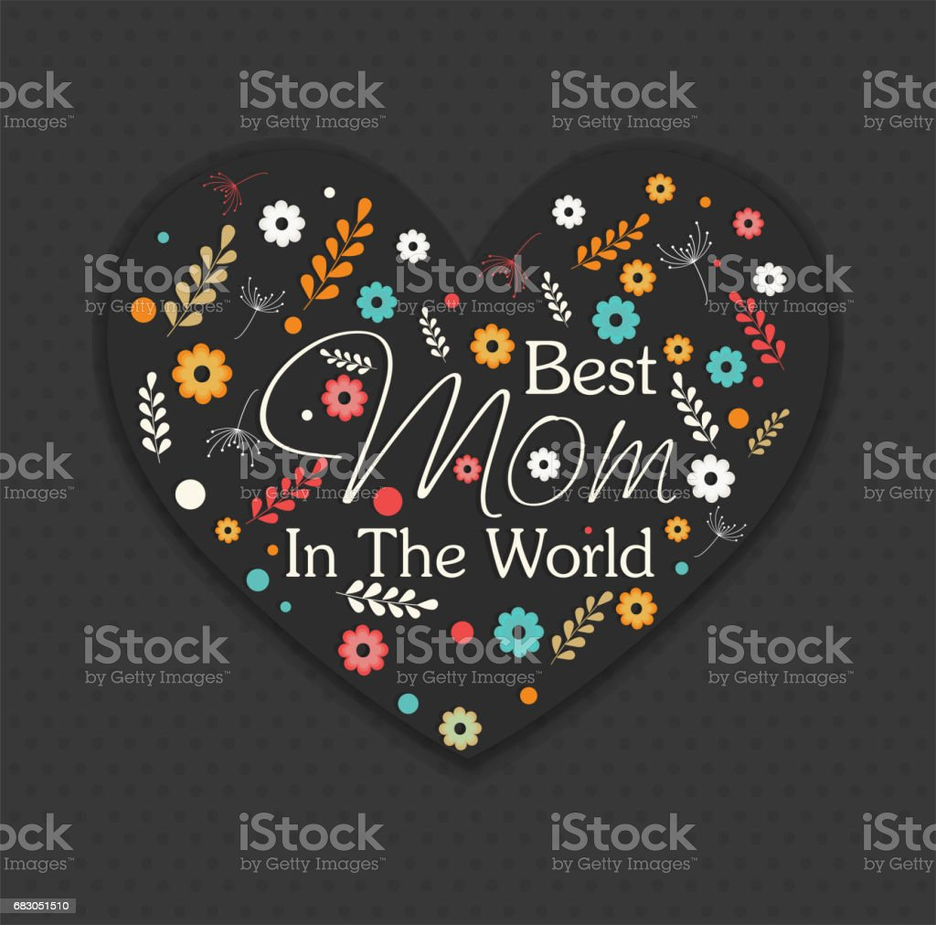 Beautiful heart with colorful flowers and text Best Mom for Happy Mother's Day celebration. beautiful heart with colorful flowers and text best mom for happy mothers day celebration - arte vetorial de stock e mais imagens de amor royalty-free