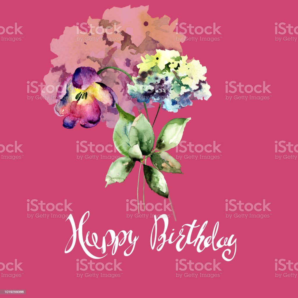 Beautiful Hydrangea And Tulips Flowers With Title Happy Birthday