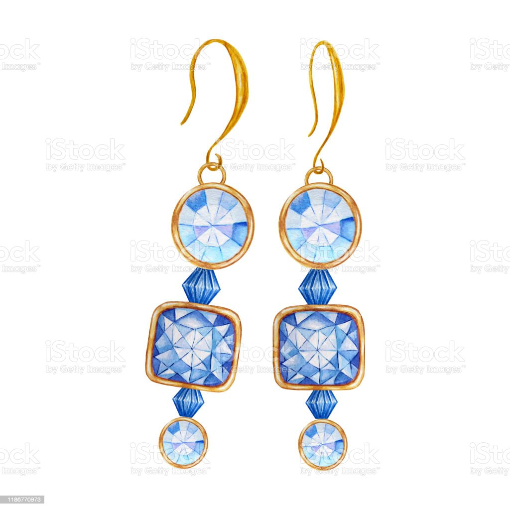 Beautiful Jewelry Earrings Blue Square And Round Gemstone With