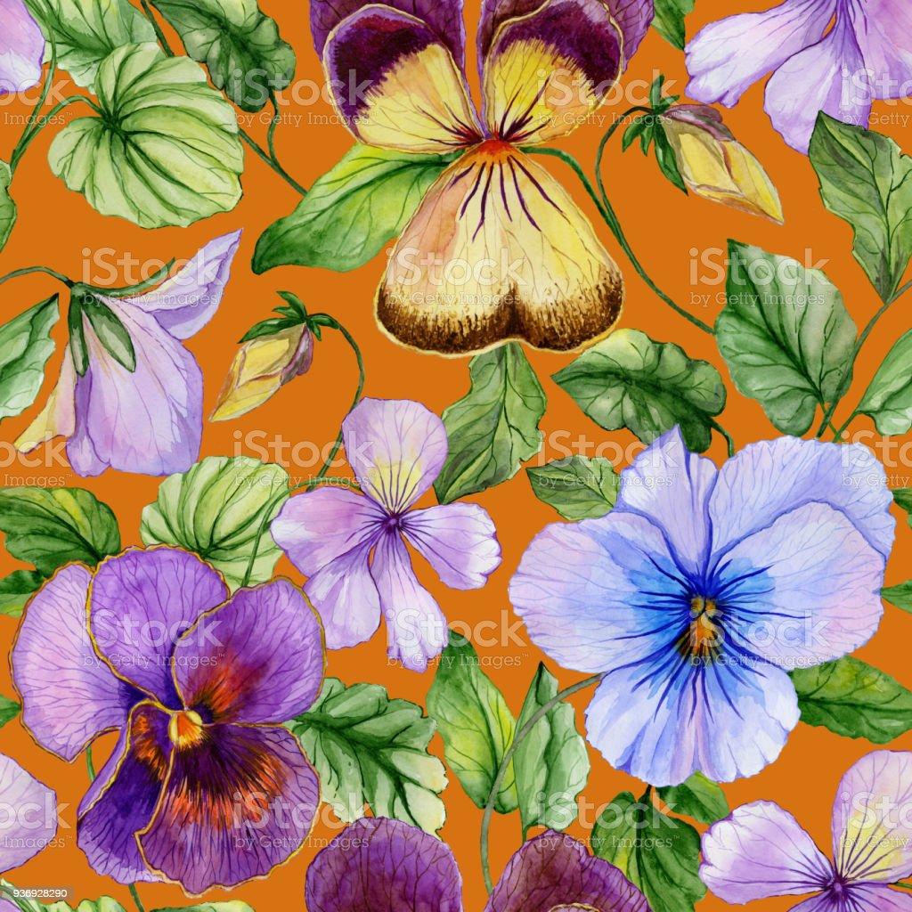 Ilustración de Flores De Viola Vivos Grande Hermosa Con Hojas De ...