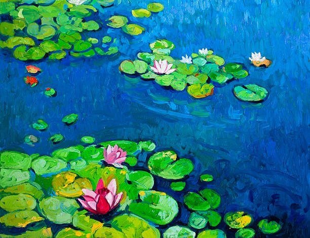 Beautiful lilies in pond. Original oil painting on canvas.Modern art.Beautiful lilies in pond. impressionism stock illustrations