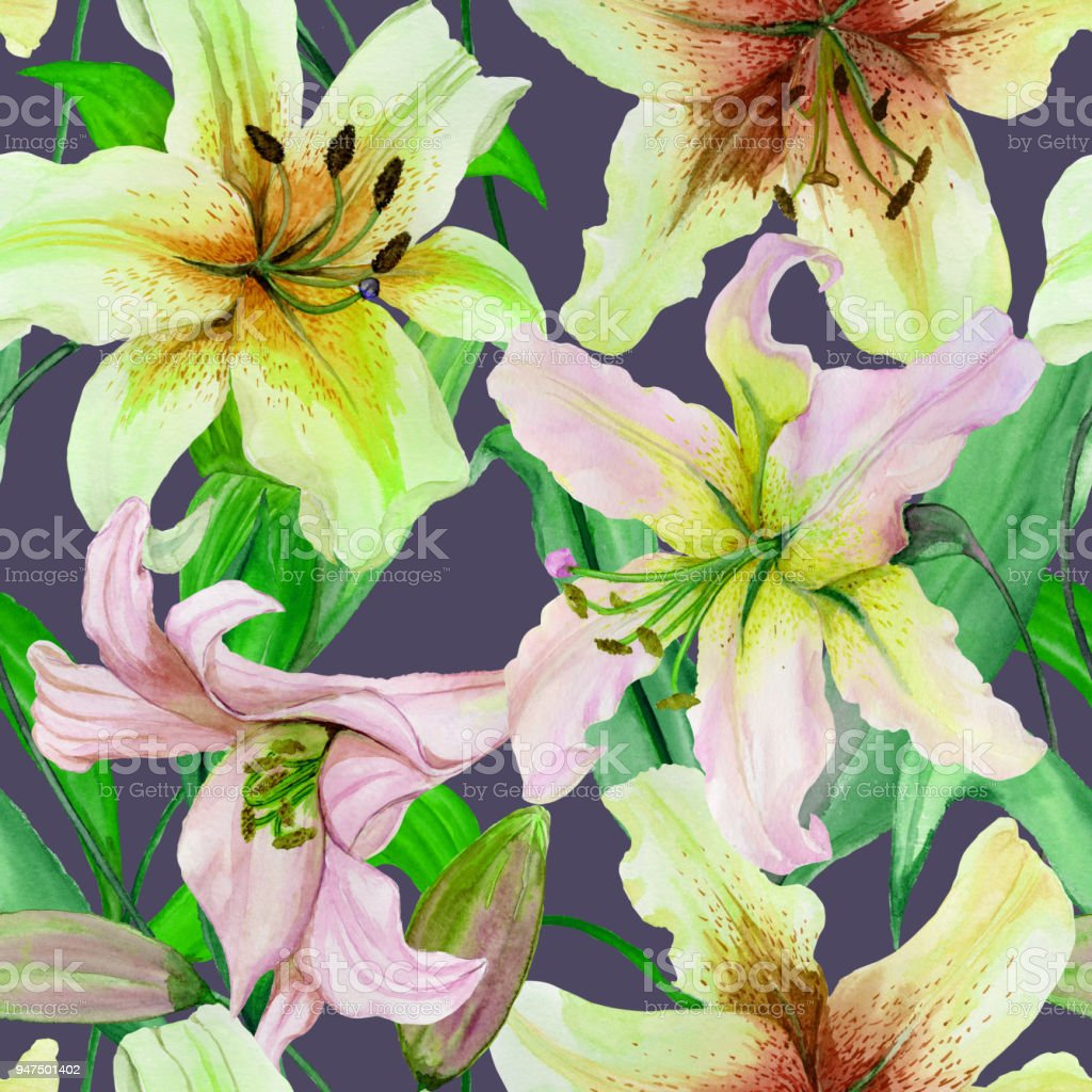 Beautiful lily flowers with green leaves on gray background seamless beautiful lily flowers with green leaves on gray background seamless floral pattern watercolor painting izmirmasajfo