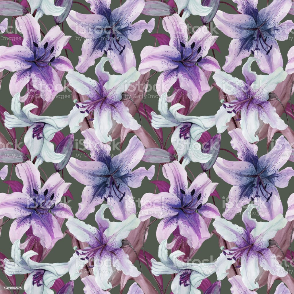 Beautiful lily flowers with leaves on gray background tints of beautiful lily flowers with leaves on gray background tints of purple blue lilac izmirmasajfo Gallery