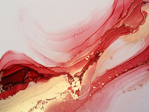 Hand painted watercolor fluid art painting in alcohol ink technique.