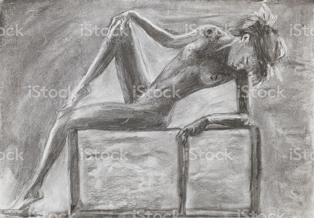 Ilustración De Hermosa Mujer Desnuda Colocación Dibujo A Lápiz Y Más