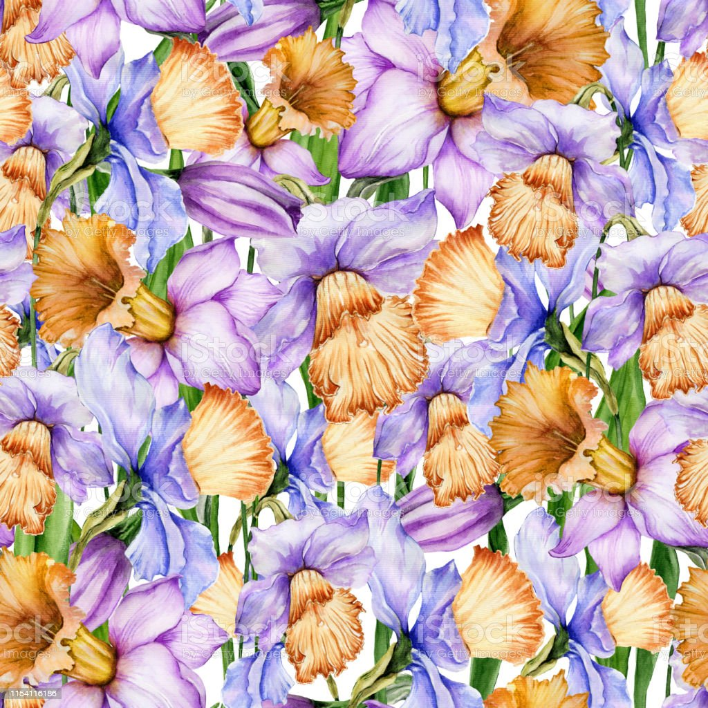 シームレスな花柄の美しい水仙の花明るい春の背景水彩画手描きの植物