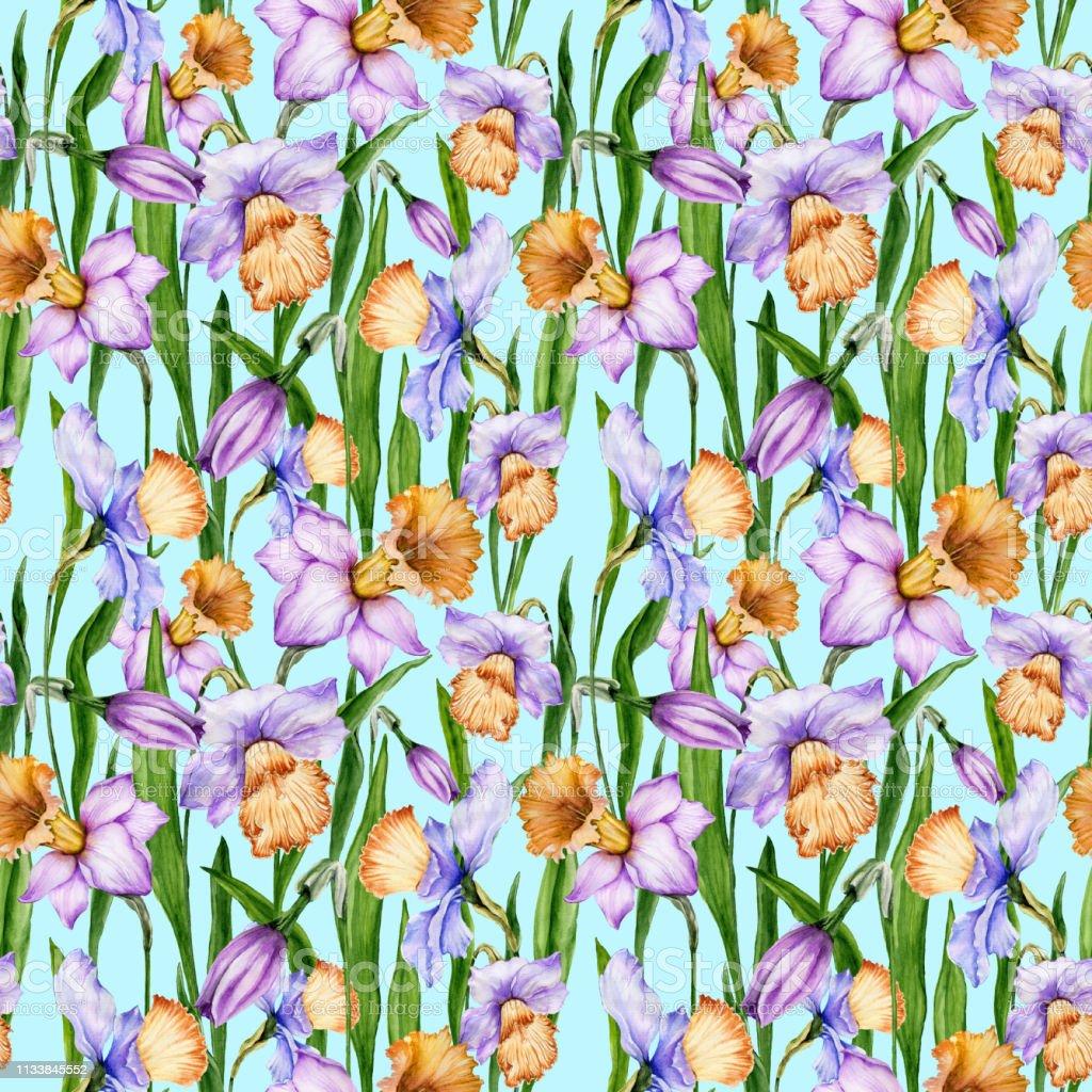 青い背景に葉を持つ美しい水仙の花シームレスな春の花柄 水彩画手描き