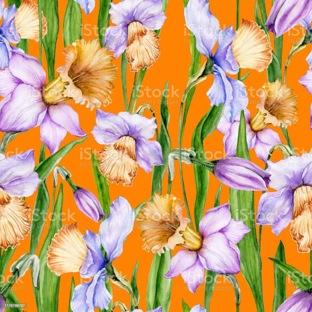 オレンジ色の背景に葉を持つ美しいナルキッソスの花シームレスな春の花