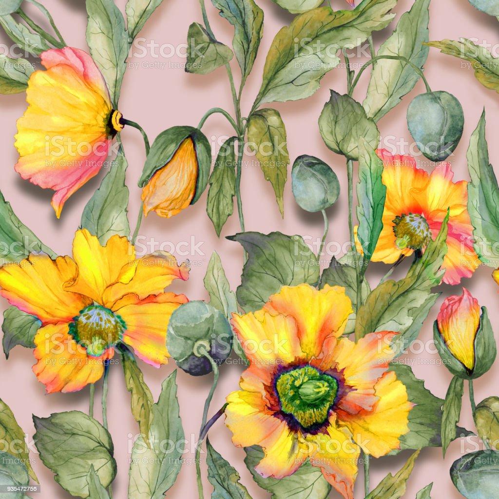 Beautiful Orange Welsh Poppy Flowers With Green Leaves On Beige
