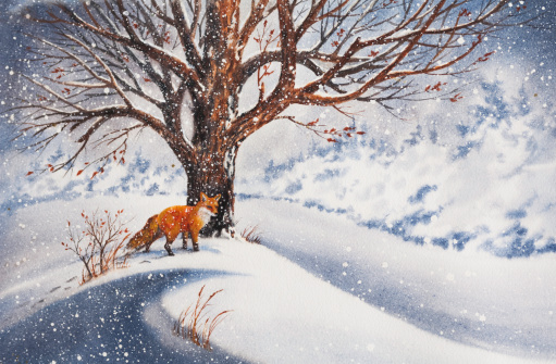 A beautiful painting of a red fox beside a tree in the snow