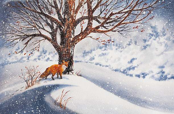 A beautiful painting of a red fox beside a tree in the snow vector art illustration