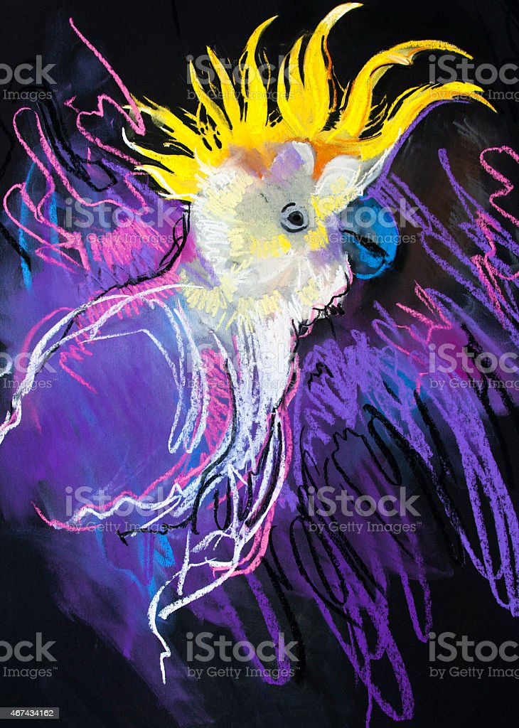 Beautiful parrot in natural environment. vector art illustration