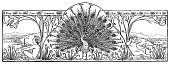Beautiful Peacock Banner - Scanned 1890 Engraving