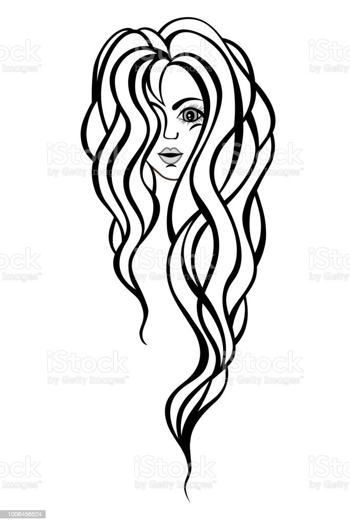 Beautiful portrait of a woman with long, wavy hair.Hair salon illustration. vector art illustration
