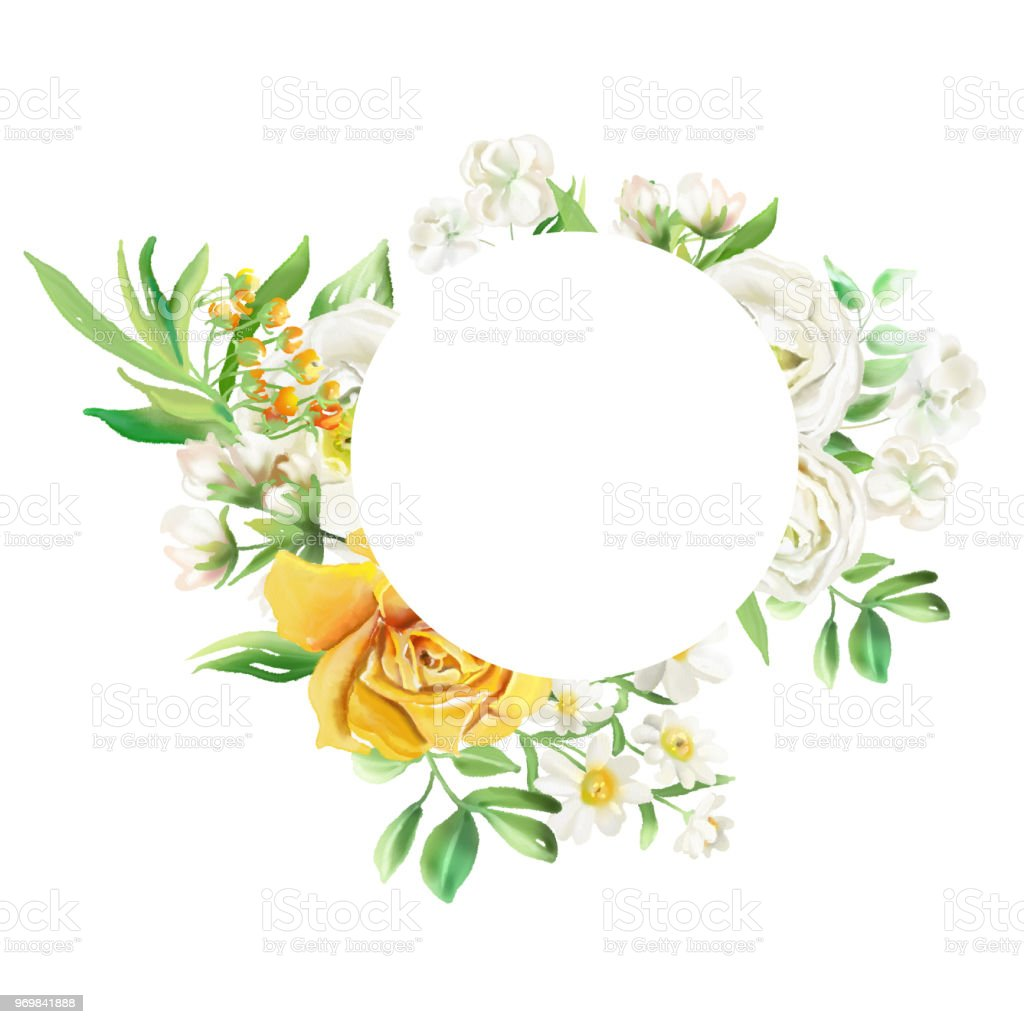 Beautiful Round Circle Frame With Watercolor Flowers Floral Bouquets