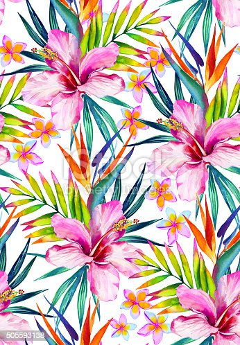 beautiful seamless pattern with hibiscus frangipani and