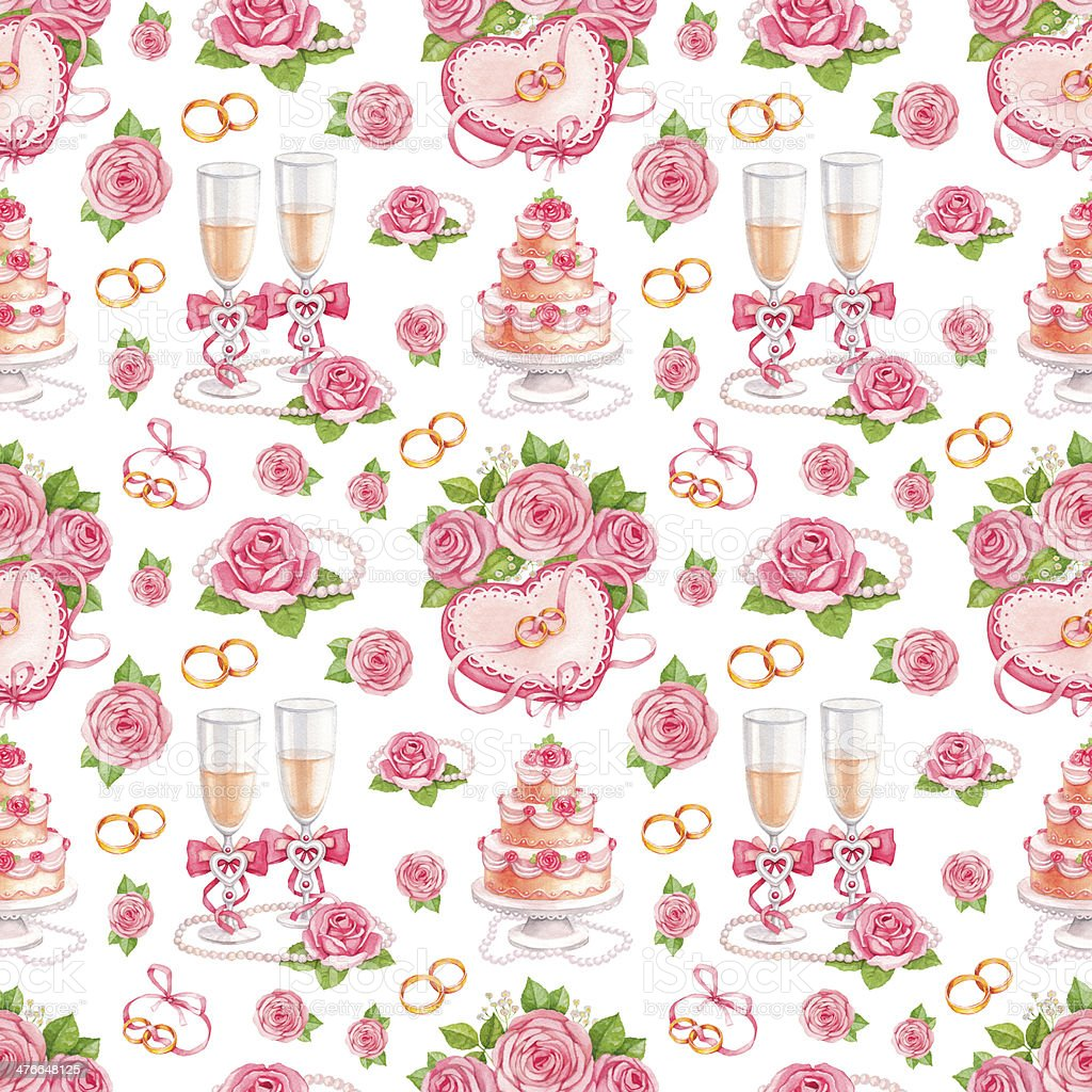 Beautiful seamless pattern with watercolor wedding illustrations royalty-free stock vector art