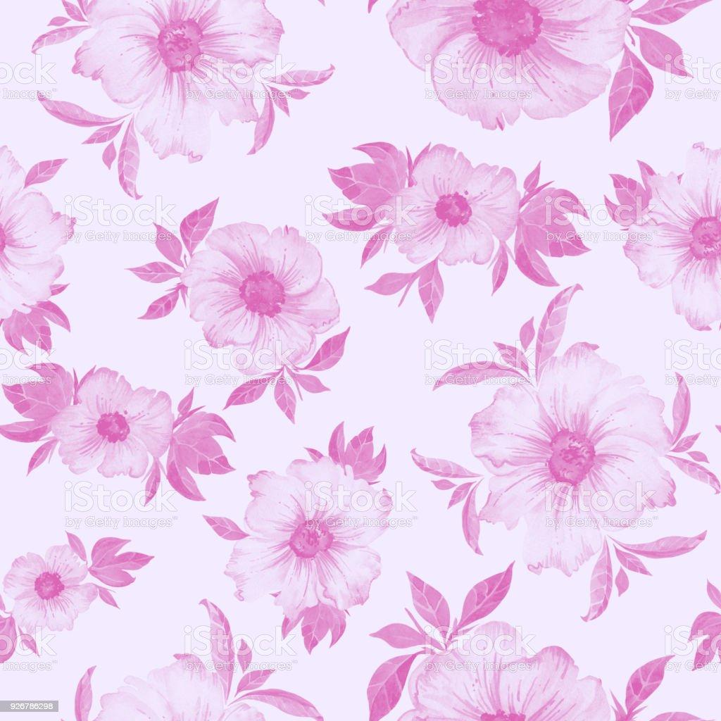 Beautiful Semitransparent Pink Flowers With Leaves On Light Pink