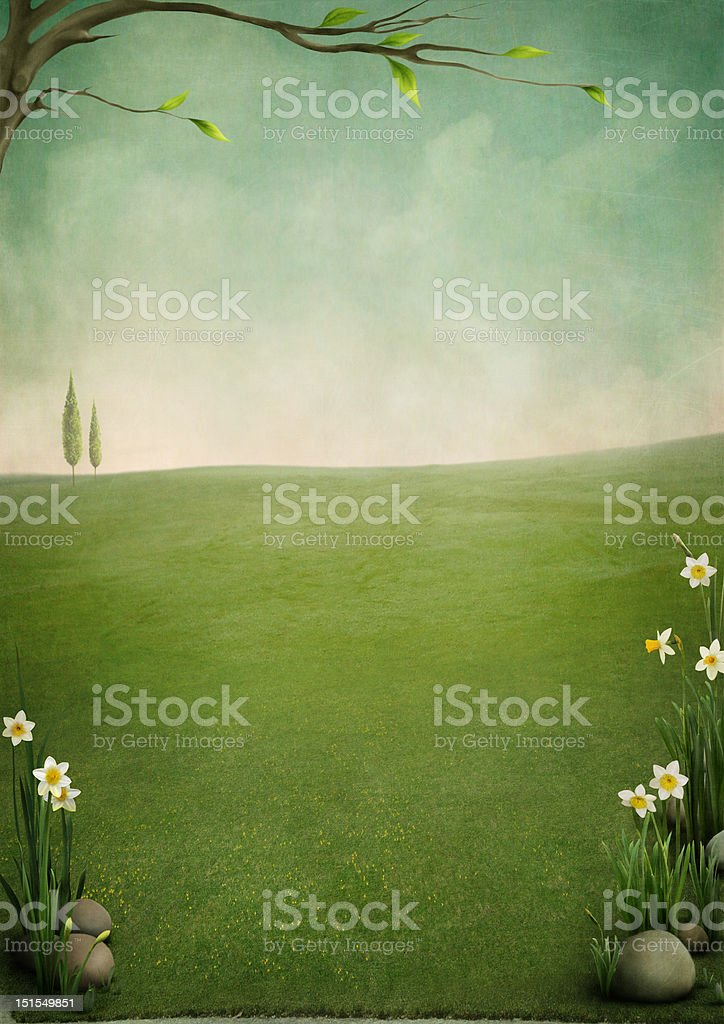 Beautiful spring landscape vector art illustration