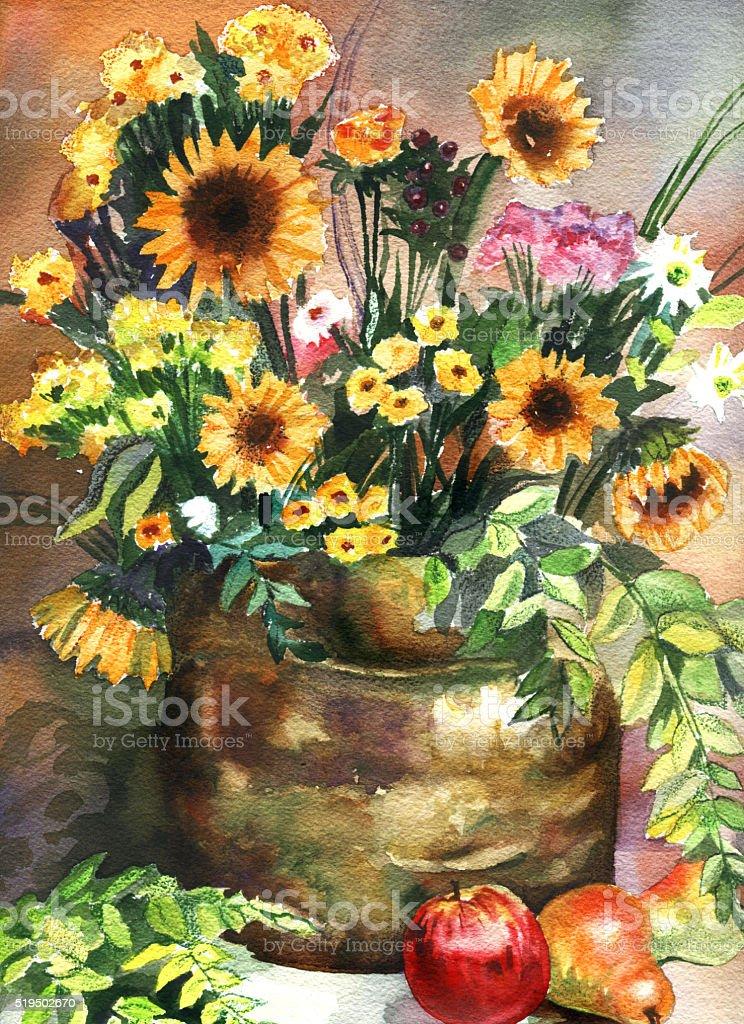 Ogromny Piękna Wiosna Akwarela Martwa Natura Z Kwiaty I Owoce - Stockowe FY42