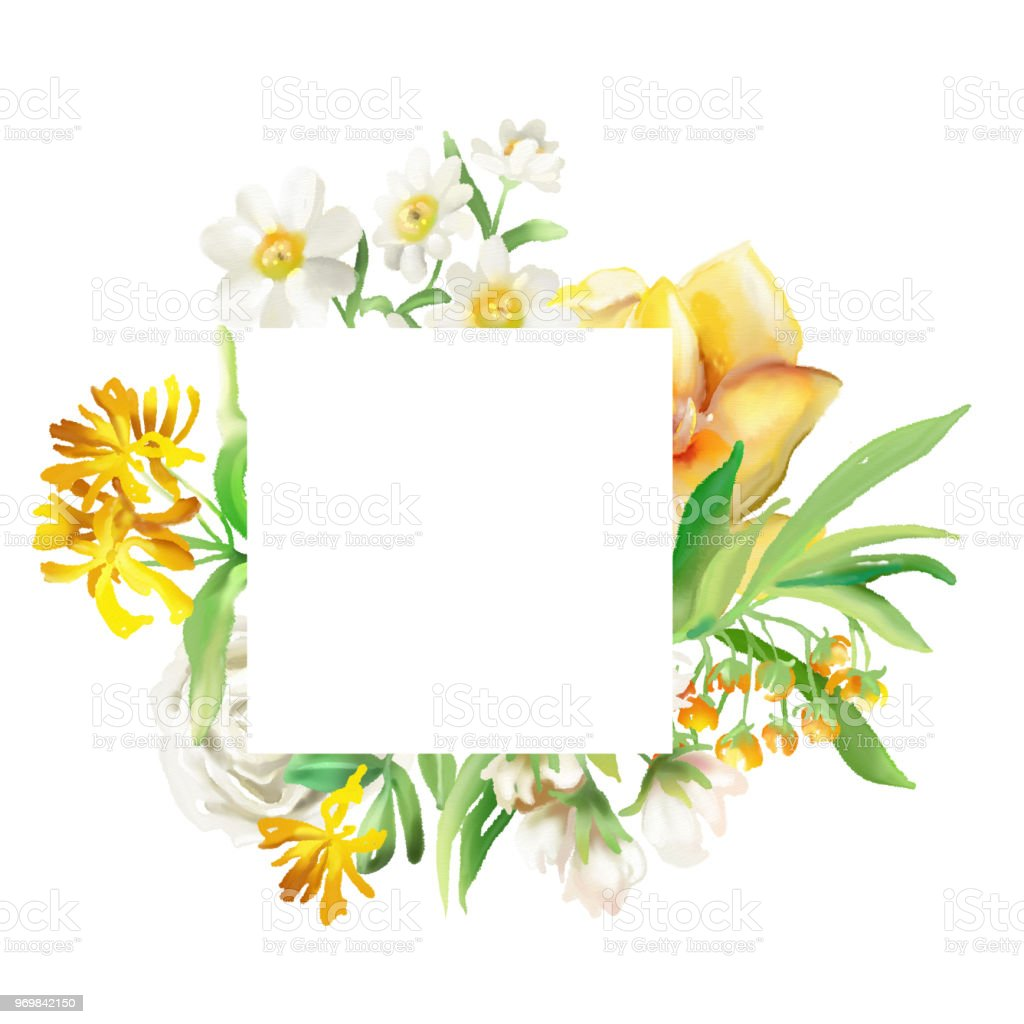 Beautiful Square Frame With Watercolor Flowers Floral Bouquets