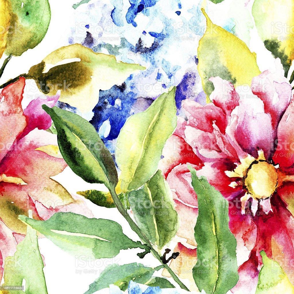 Beautiful Summer Flowers Seamless Pattern Stock Vector Art More