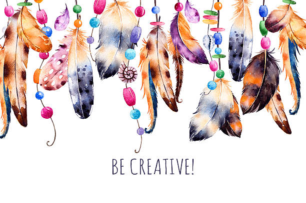 Beautiful template card.Handpainted illustration. Beautiful template card.Handpainted illustration.Watercolor feathers with ribbons,shells,beads,strings of pearls and other decorations on white background.Be creative.Perfect for print,blogs and more dreamcatcher stock illustrations