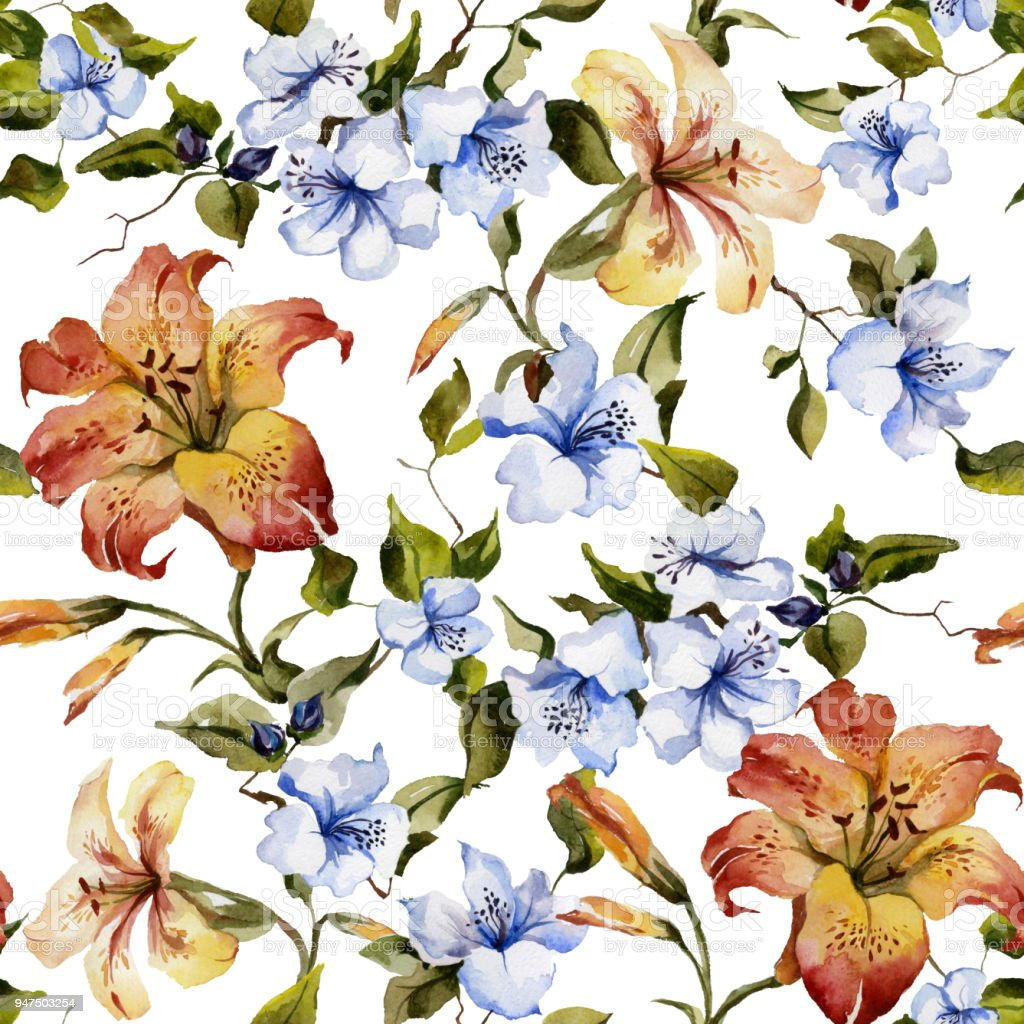 Beautiful tiger lilies and small blue flowers on twigs against white beautiful tiger lilies and small blue flowers on twigs against white background seamless floral pattern izmirmasajfo