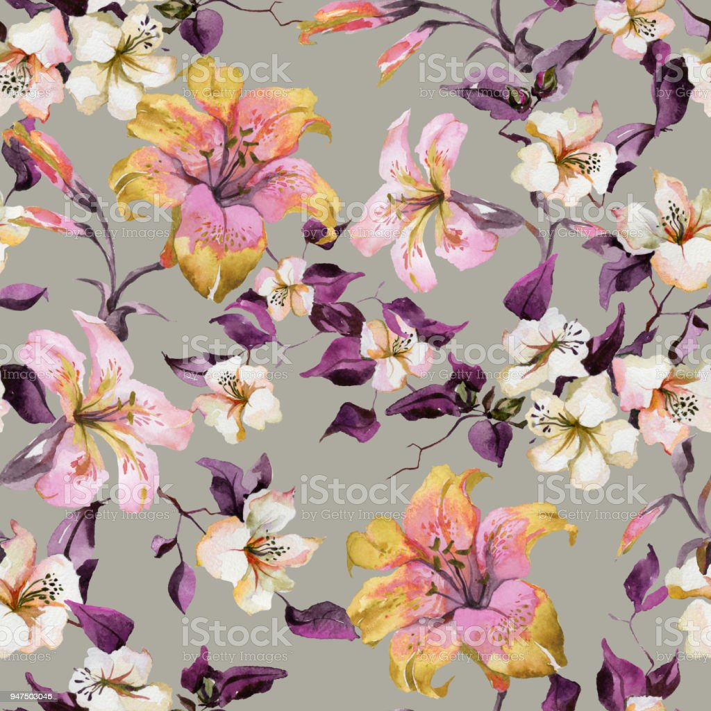 Beautiful tiger lilies and small white flowers on twigs against beautiful tiger lilies and small white flowers on twigs against light background seamless floral pattern izmirmasajfo