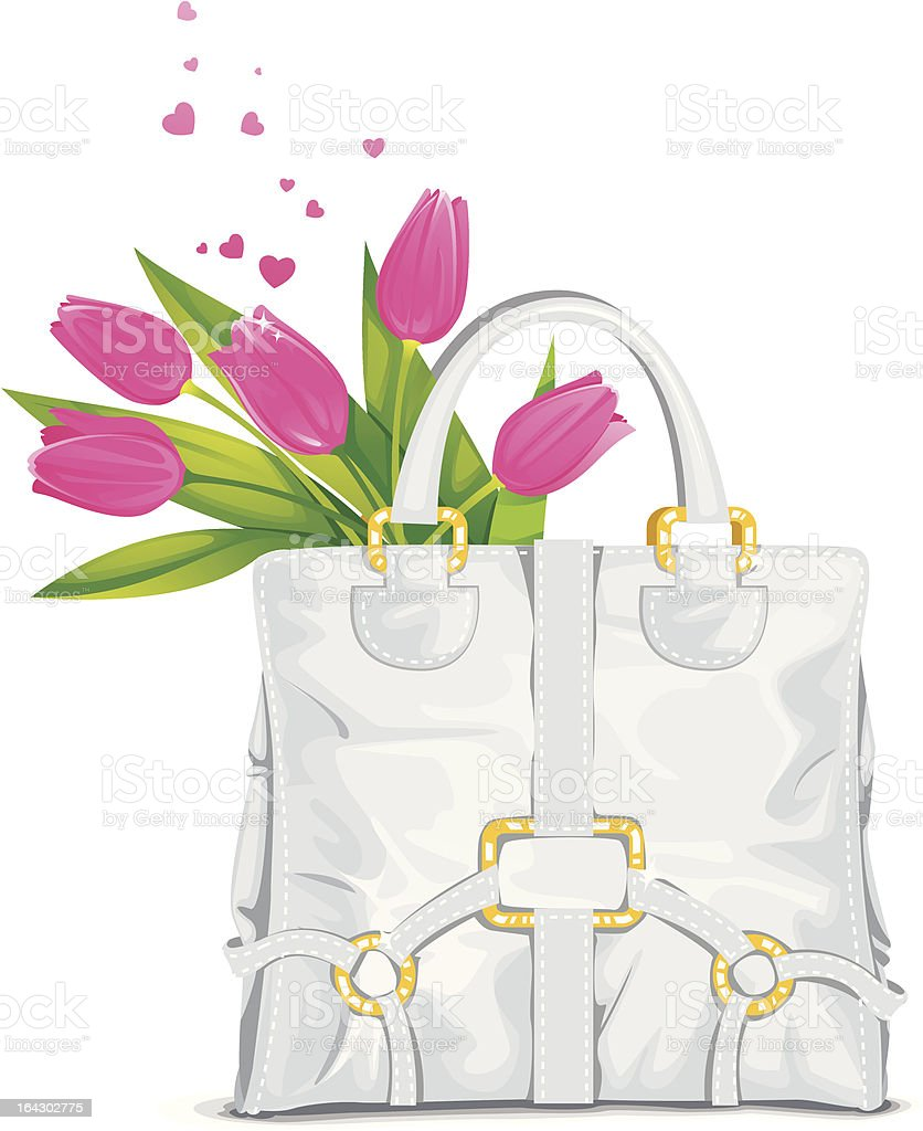 Beautiful tote bag with pink tulips royalty-free stock vector art