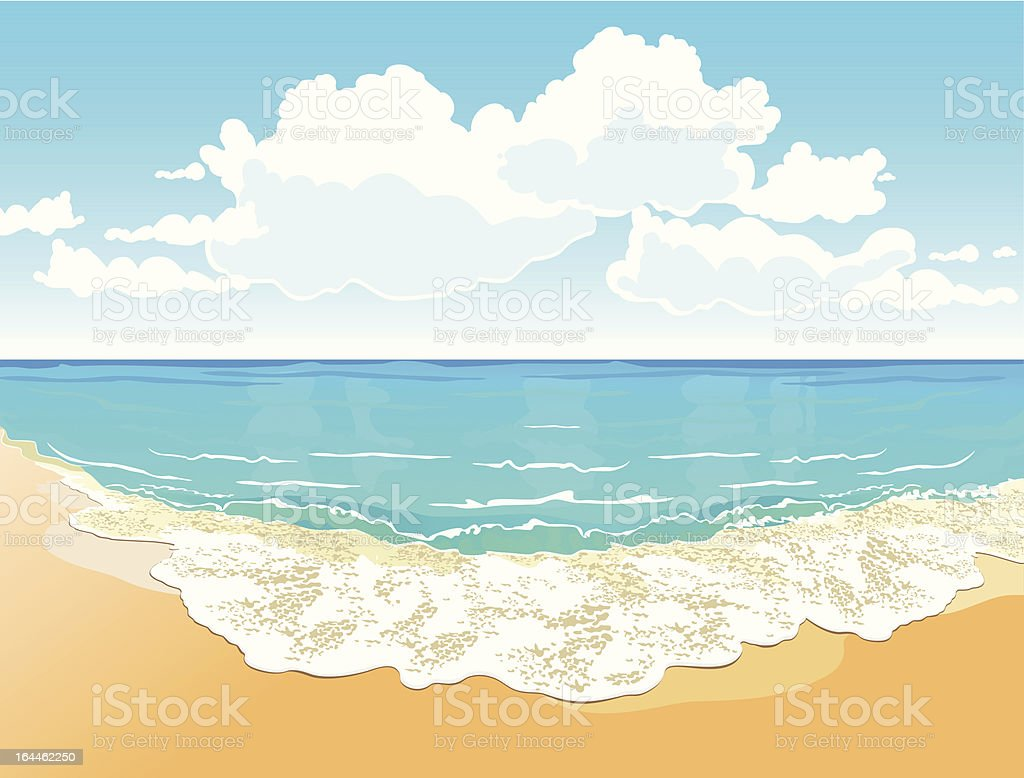 Beautiful tropical beach with a wave vector art illustration