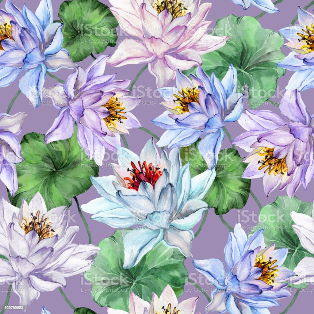 Beautiful tropical floral seamless pattern large blue and purple beautiful tropical floral seamless pattern large blue and purple lotus flowers with leaves on light izmirmasajfo