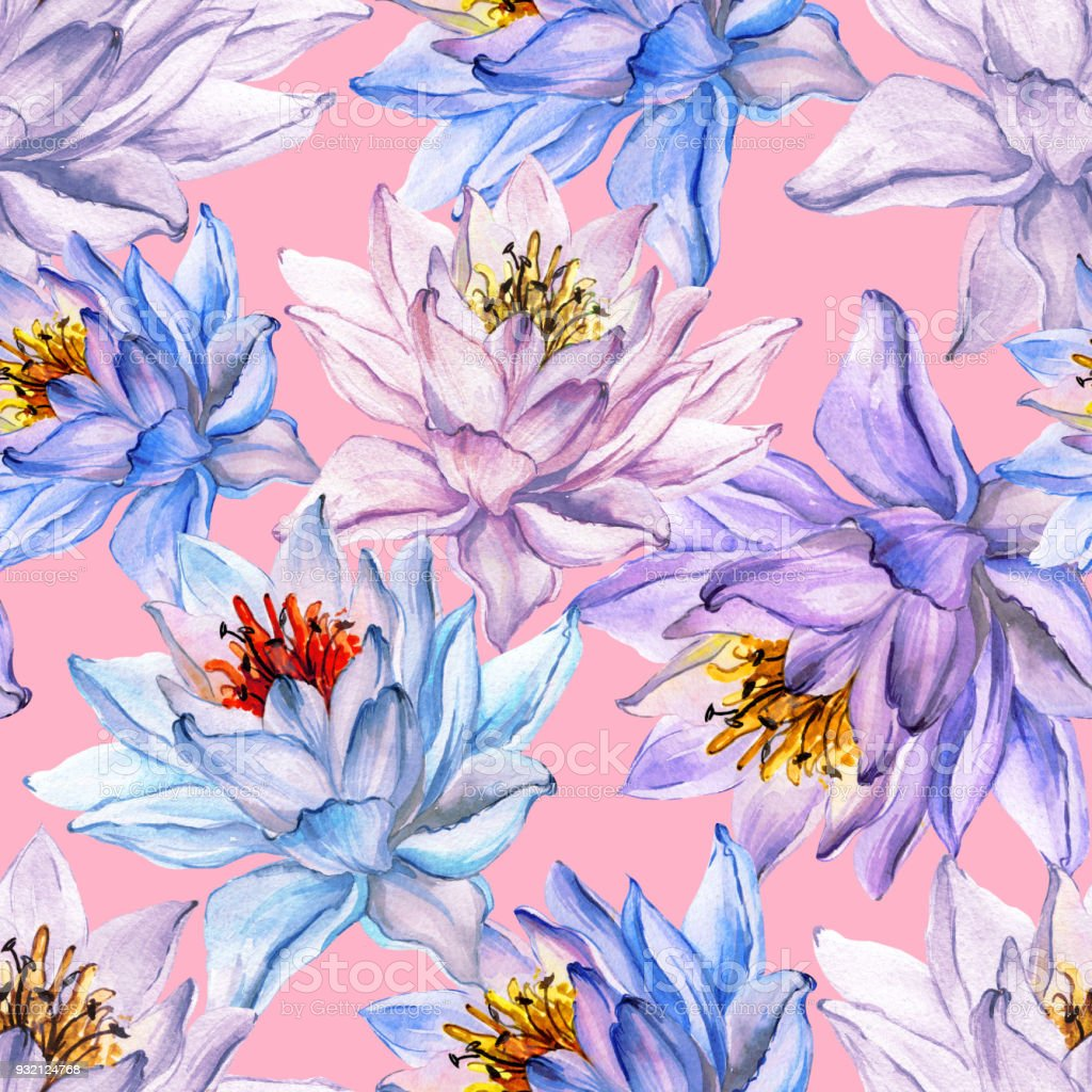 Beautiful tropical floral seamless pattern large blue and purple beautiful tropical floral seamless pattern large blue and purple lotus flowers on pink background izmirmasajfo