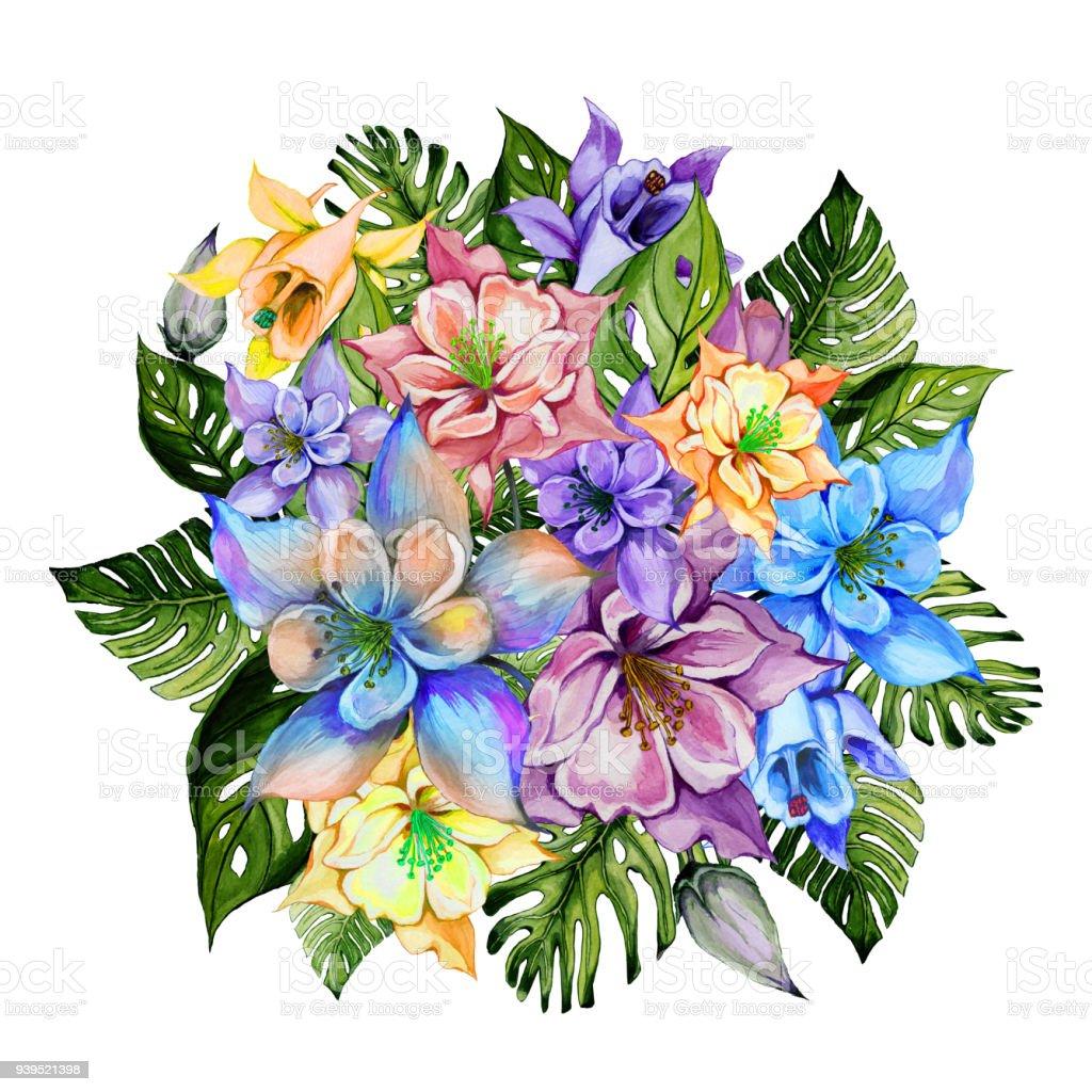 Beautiful tropical flowers round bunch of columbine flowers and beautiful tropical flowers bright aquilegia and monstera leaves round bunch of columbine flowers izmirmasajfo