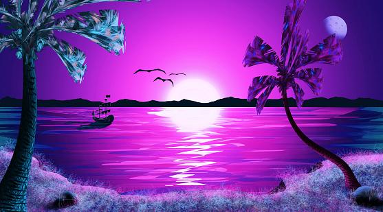 Beautiful Tropical Sunset Night Sky Sea Landscape ...