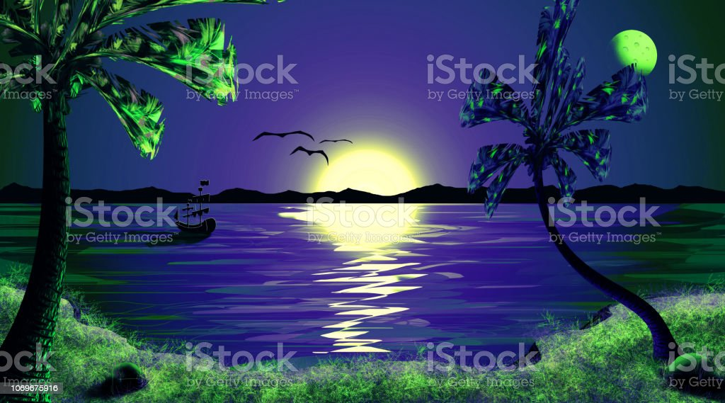 Beautiful Tropical Sunset Night Sky Sea Landscape Wallpaper Design Stock Illustration Download Image Now Istock,Simple Modular Kitchen Designs With Price