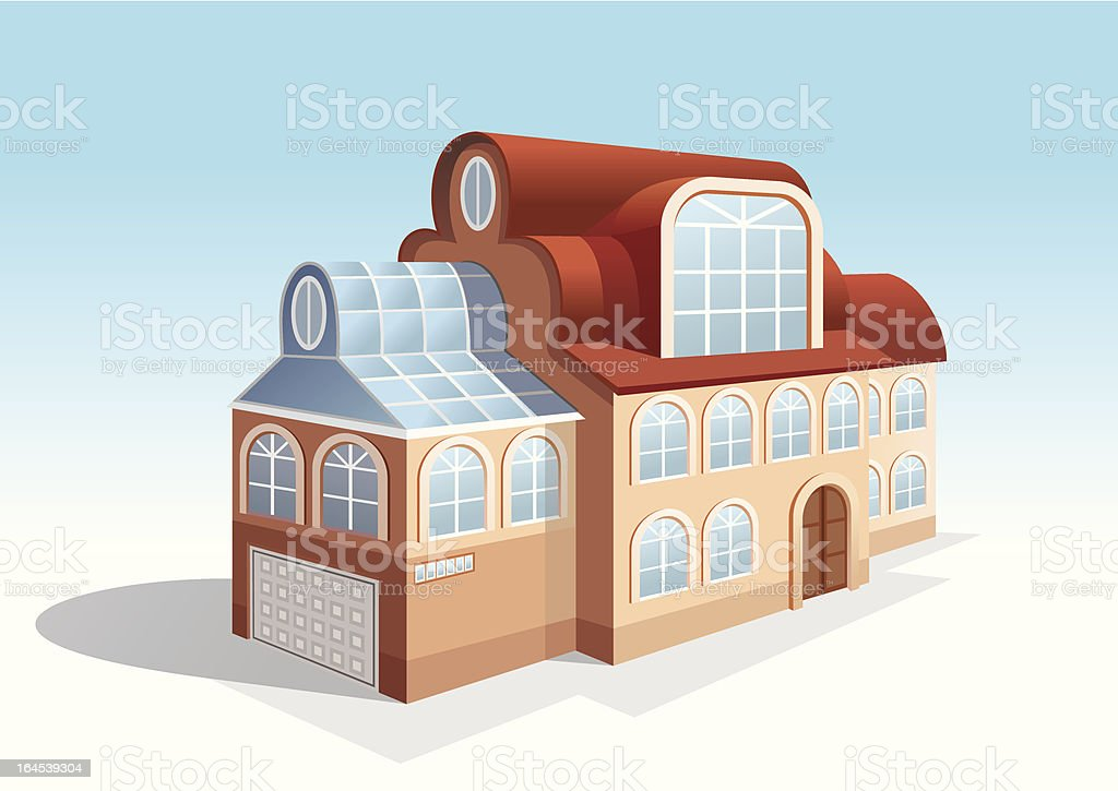 beautiful two-story house royalty-free stock vector art