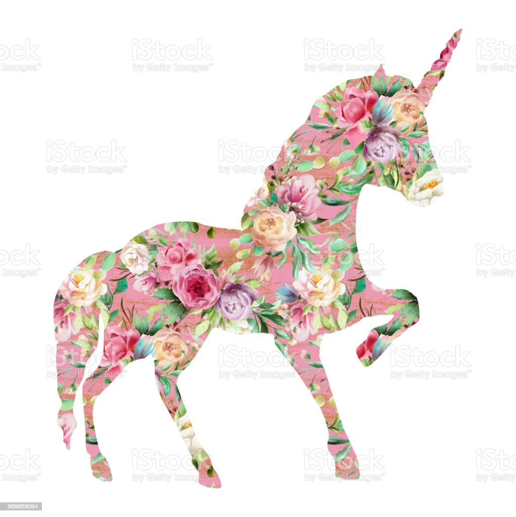 Beautiful Unicorn Magic Horse Fantasy Silhouette Double Exposure With Watercolor Flowers Pattern Stock Illustration Download Image Now Istock