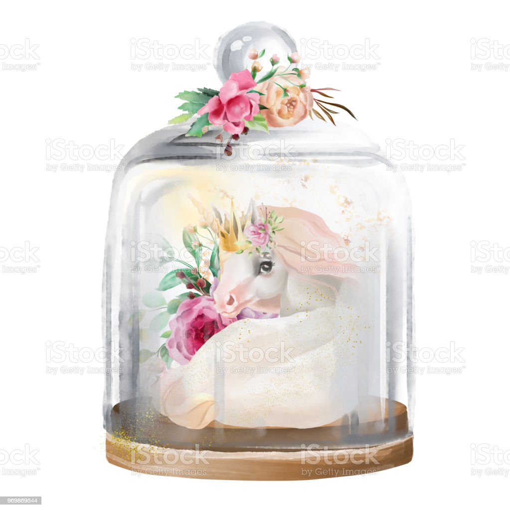 Beautiful Unicorn Magic Horse In Gold Crown And Flowers In A Glass Mason Jar Fantasy Watercolor Illustration Isolated On White Stock Illustration Download Image Now Istock