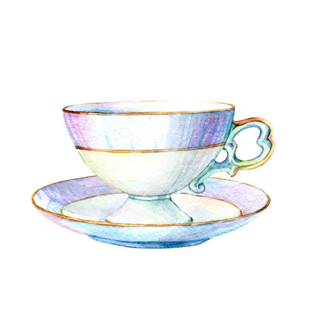 beautiful vintage empty coffee cup on a saucer isolated on white background - stacked tea cups stock illustrations, clip art, cartoons, & icons