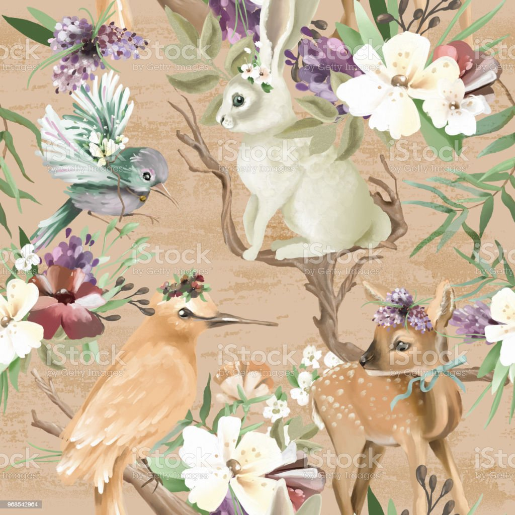 Beautiful Vintage Enchanted Woodland Forest Animals And Birds With