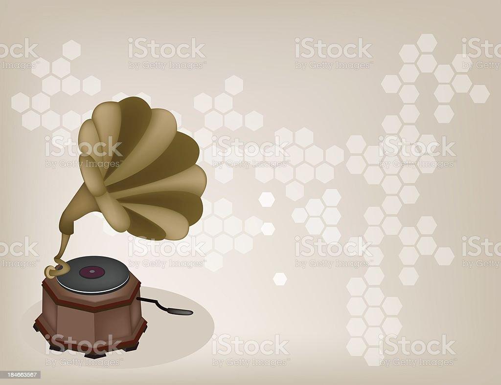 Beautiful Vintage Gramophone on  Brown Background royalty-free stock vector art