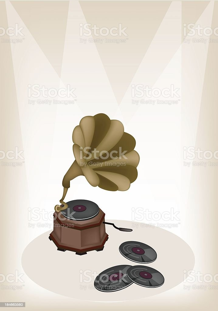 Beautiful Vintage Gramophone on Brown Stage Background royalty-free beautiful vintage gramophone on brown stage background stock vector art & more images of audio equipment