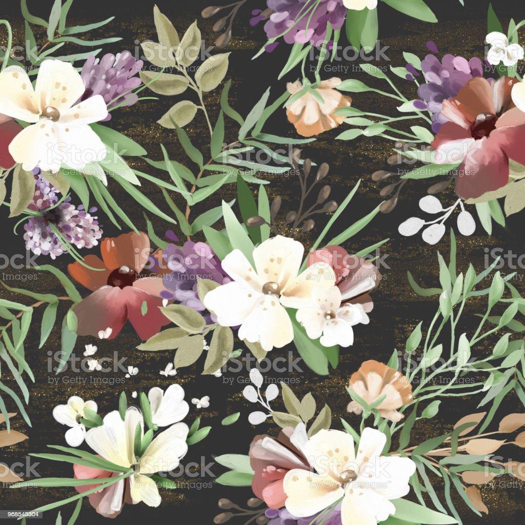 Beautiful vintage hand painted oil textured forest woodland wild beautiful vintage hand painted oil textured forest woodland wild flowers floral seamless izmirmasajfo